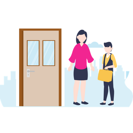 Mother and child outside the class Illustration