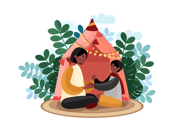 Mother and child playing near tent house Illustration