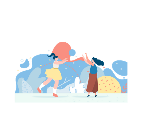 Mother and daughter are playing ball in the park Illustration