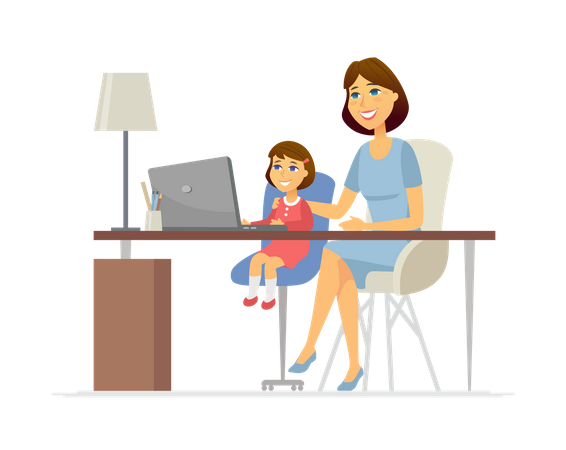 Mother and daughter at the laptop Illustration