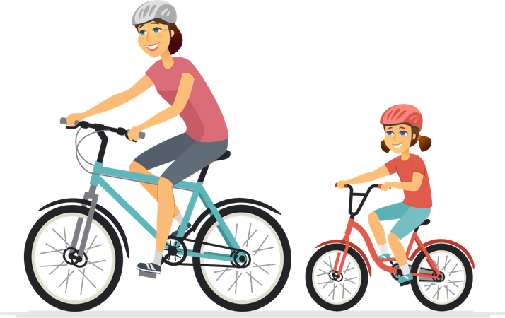 Mother and daughter cycling Illustration