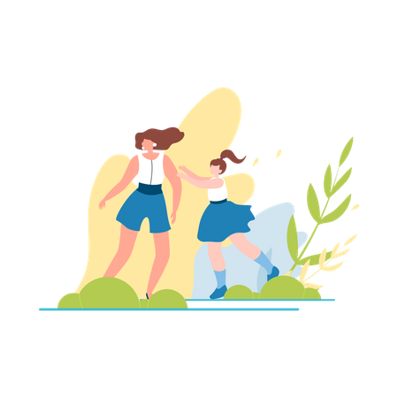 Mother and daughter having fun in park Illustration