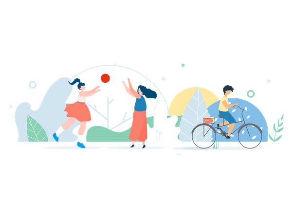 Mother and Daughter Playing Ball in Park and Boy Riding Bicycle Illustration