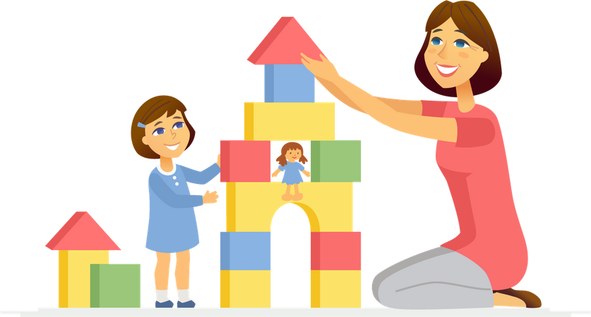 Mother and daughter playing with puzzle box Illustration