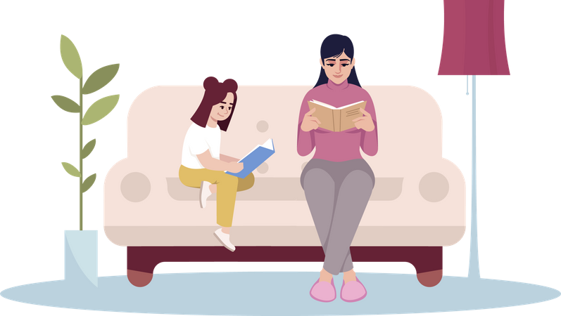 Mother and daughter reading book Illustration