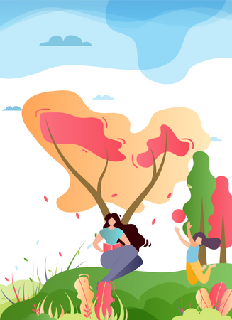Mother and Daughter Spending Time in Park Illustration