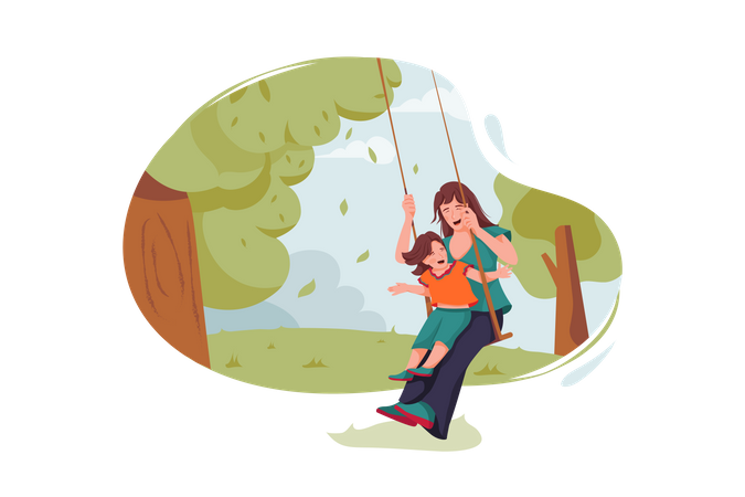 Mother and daughter swing at garden Illustration