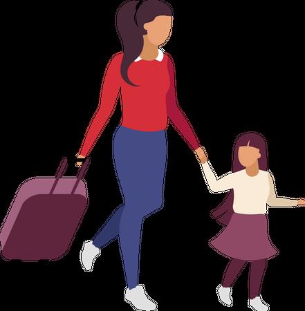 Mother and daughter travelling together Illustration