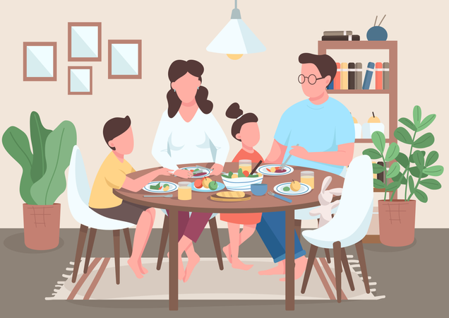 Mother and father eating food with kids Illustration