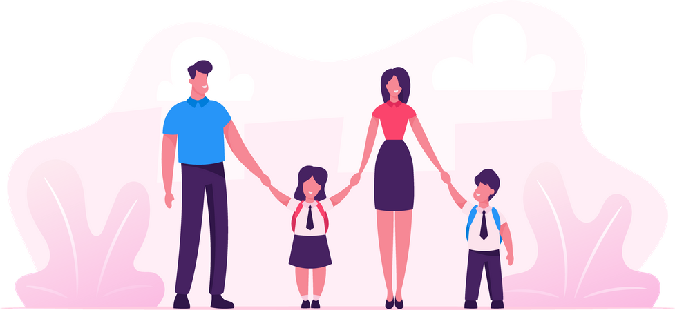 Mother and Father Leading their Children to School Illustration