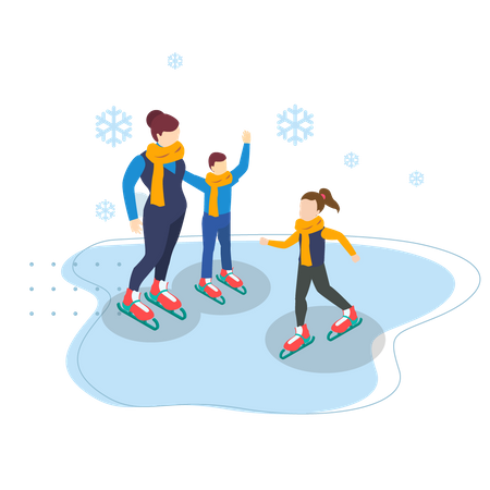 Mother and kids playing with snow Illustration