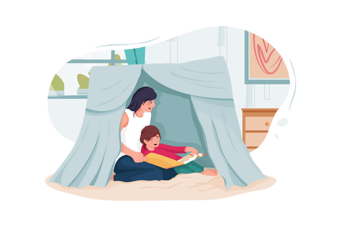 Mother and little children reading book in tent at home Illustration