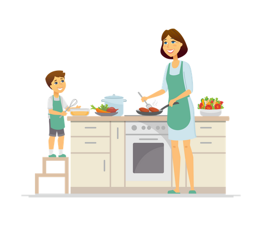 Mother and son cooking in the kitchen Illustration