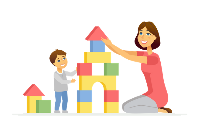 Mother and son playing Illustration