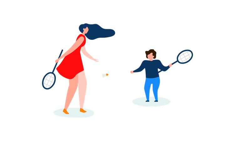Mother and son playing badminton Illustration