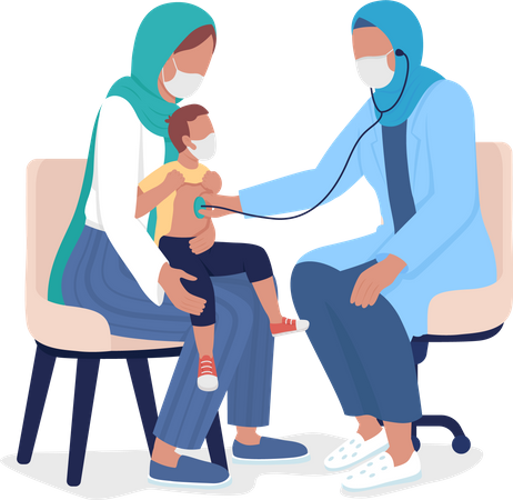 Mother and toddler visiting pediatrician Illustration