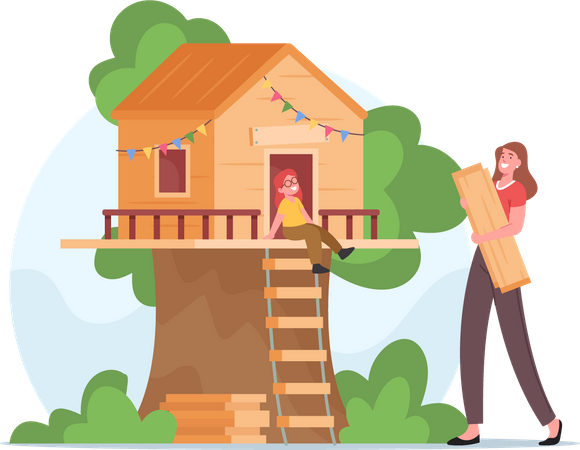 Mother Building Tree House for Little Daughter Illustration