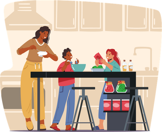 Mother cooking meal with kids in the kitchen Illustration