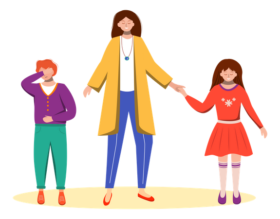 Mother doing inequality between children Illustration
