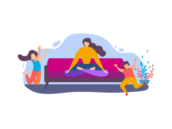 Mother doing Meditation and Children Playing Illustration
