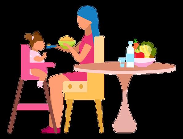 Mother feeding baby Illustration