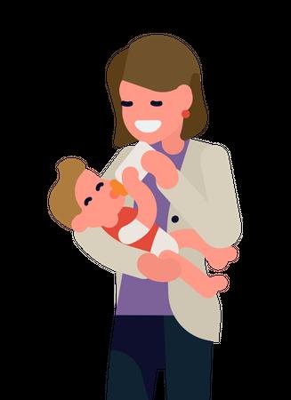 Mother feeding her child with milk bottle Illustration
