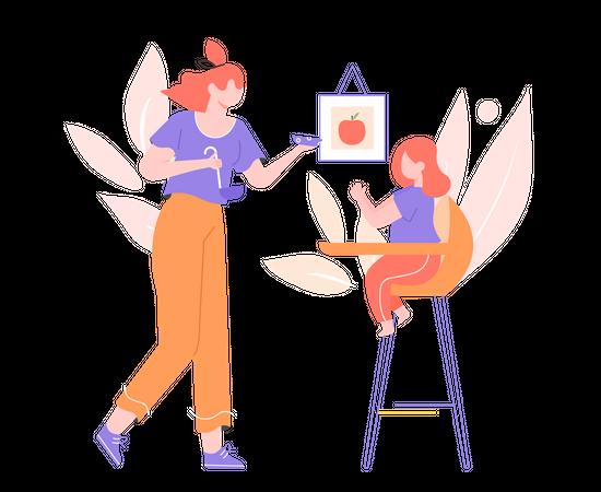 Mother feeding her daughter Illustration