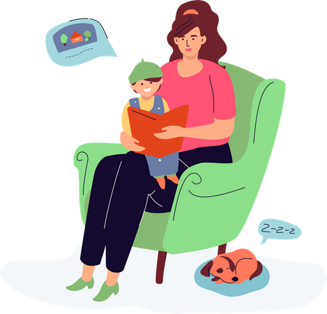 Mother reading a book to her son Illustration