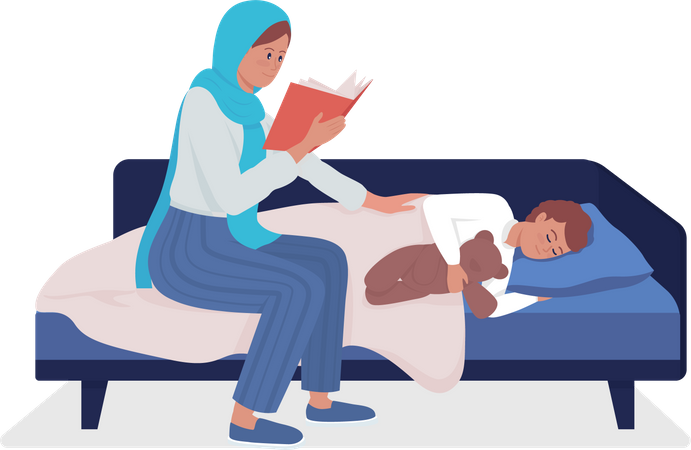 Mother reading fairytale story for son Illustration