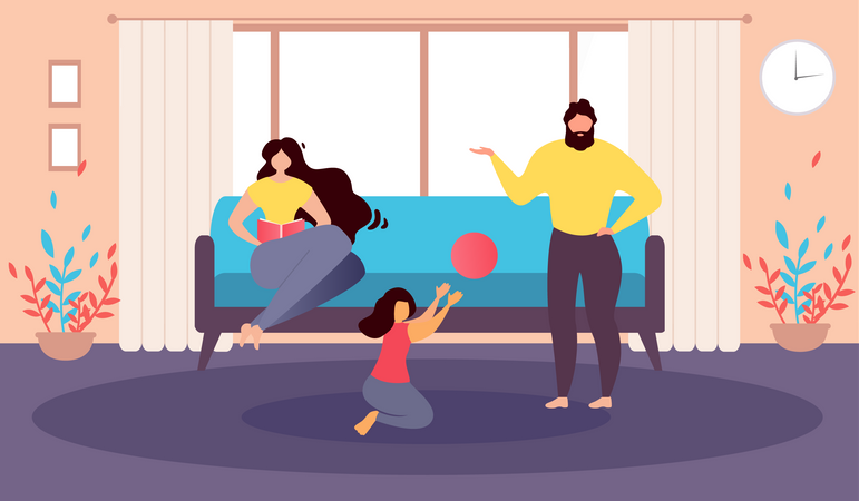 Mother Sits on Couch Reading Book and Father Playing Ball with Daughter Illustration
