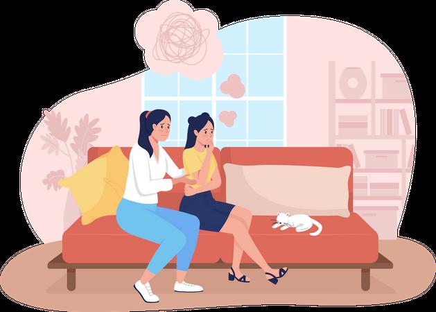 Mother support sad teenage daughter Illustration