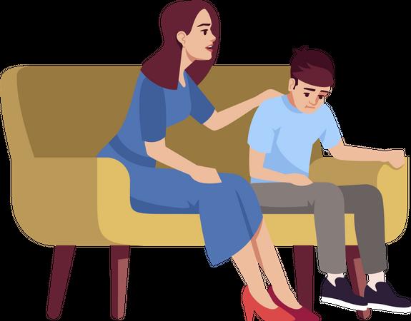 Mother talking to sad child Illustration