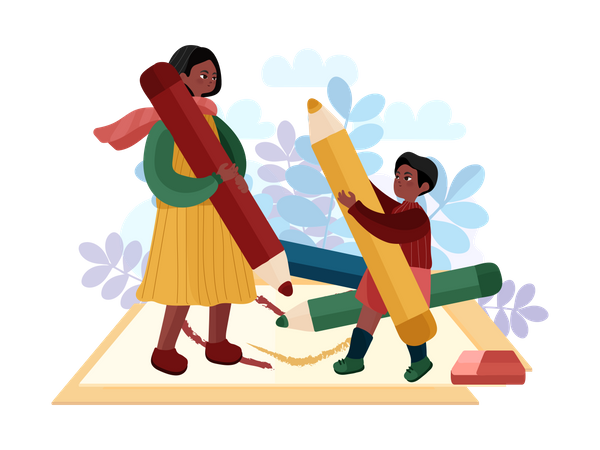 Mother teaching drawing to her child Illustration