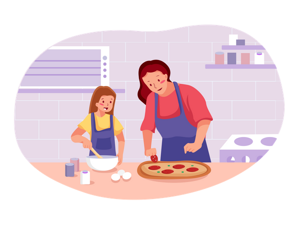 Mother with baby girl making pizza Illustration