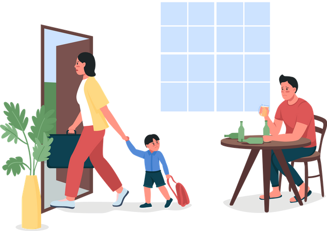 Mother with child leaves alcoholic father Illustration