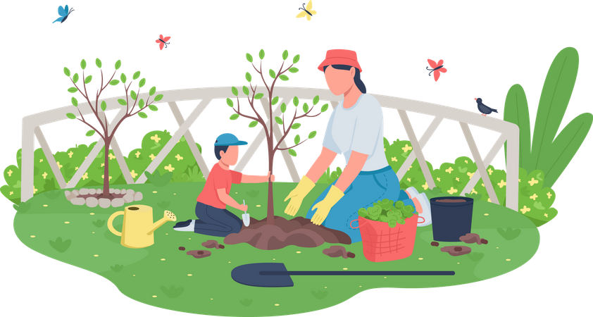 Mother with child planting tree Illustration
