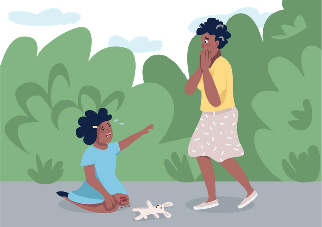 Mother with crying daughter Illustration