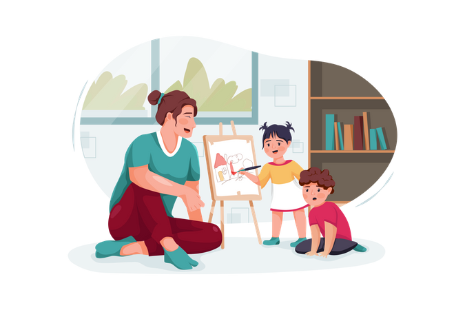 Mother with cute little children playing and drawing at home Illustration
