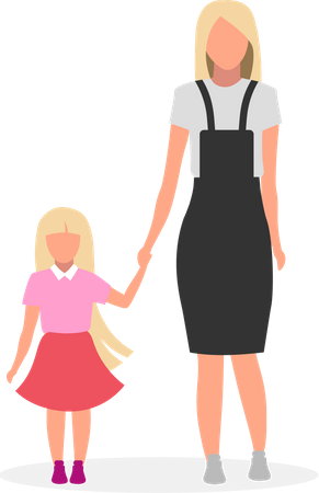 Mother with daughter Illustration
