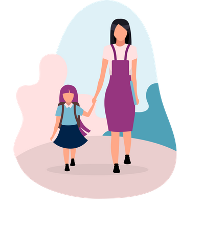 Mother with daughter going to school Illustration