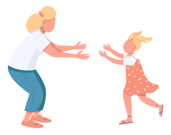 Mother with daughter hugging Illustration