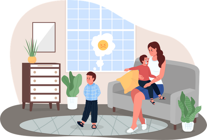Mother with fighting children Illustration