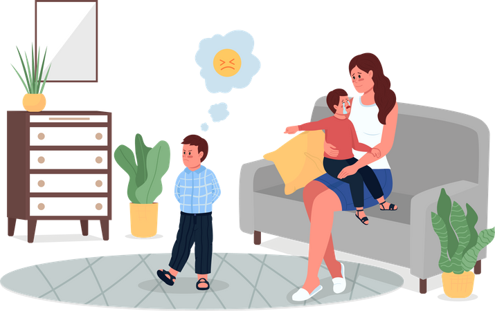 Mother with quarreling children Illustration
