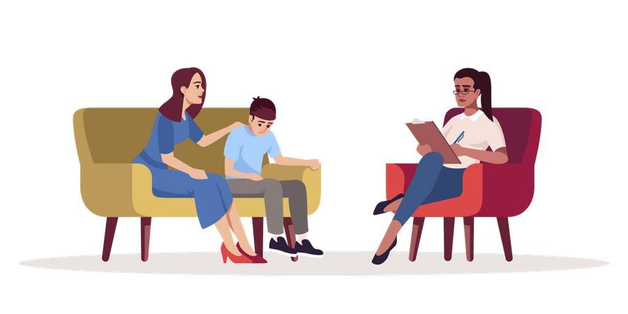 Mother with son meeting specialist Illustration