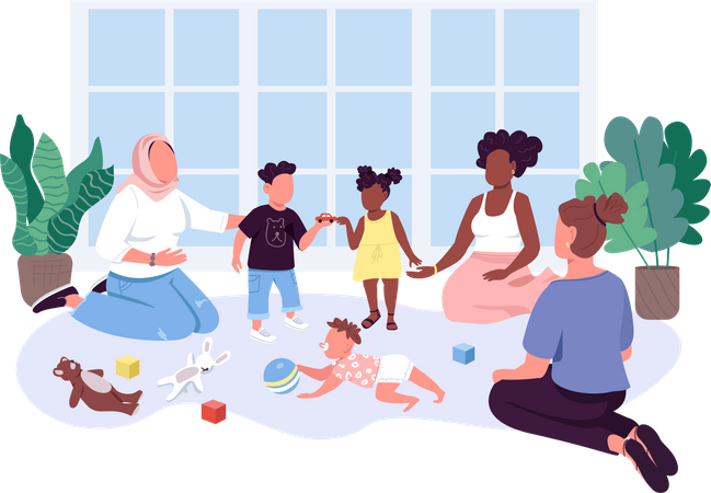 Mothers spend time with their children Illustration