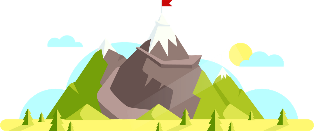Mountain with red flag on top Illustration