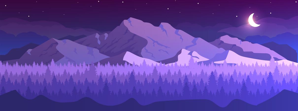 Mountains at night Illustration