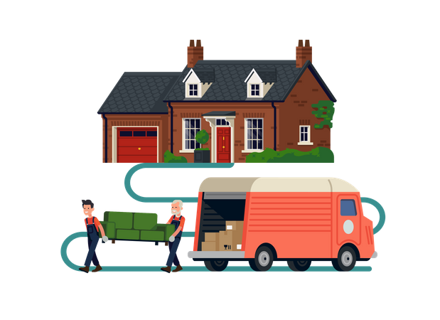 Movers Company workers holding couch Illustration