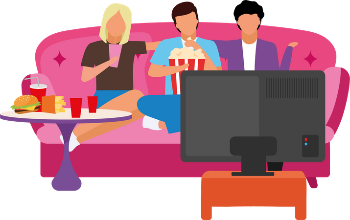 Movie night with Family Illustration