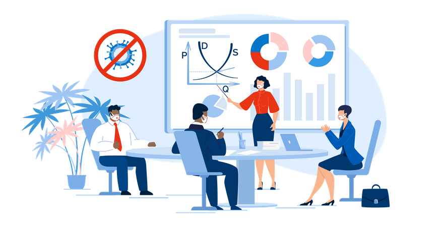 Multi-racial Business People Team in Meeting Room Illustration